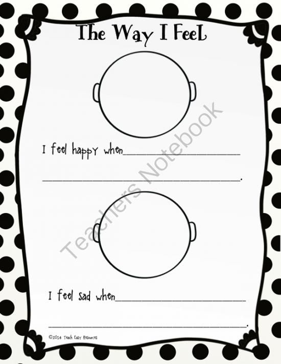 FREE Feelings Worksheet from Teach Easy Resources on