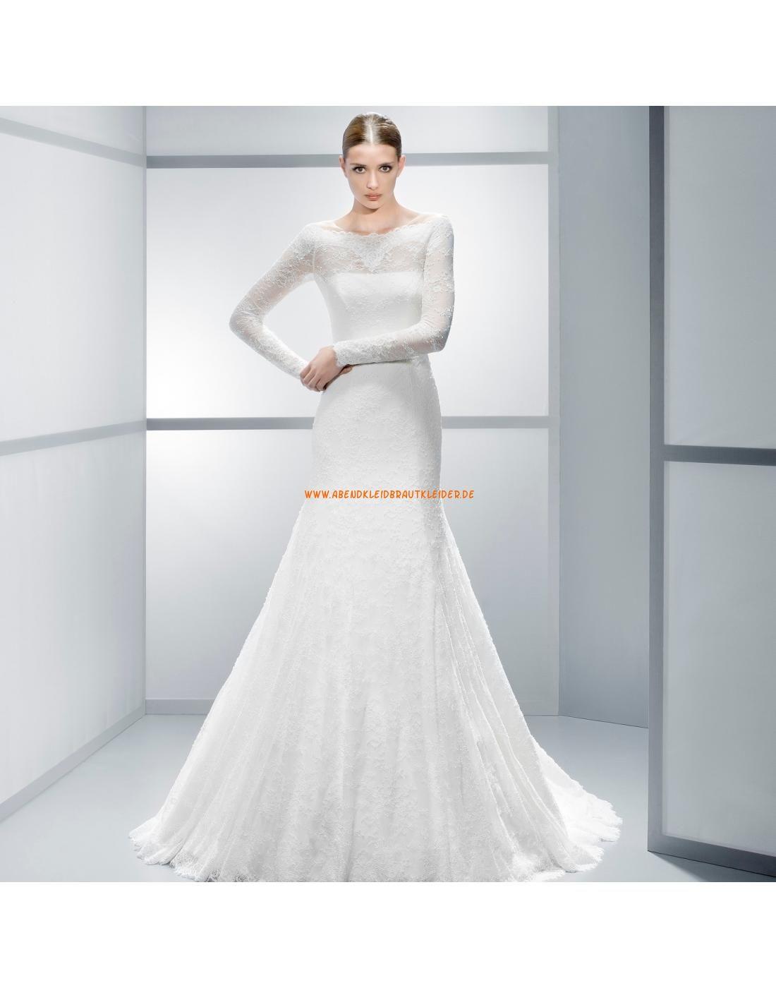 Sexy elegante Brautkleider mit spitze mit Ärmel und Schleppe
