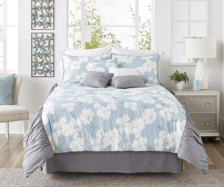 Aprima Aprima Palisades Blue White Gray 8 Piece Comforter Sets Big Lots Light Blue Bedding Comforter Sets Chic Bedroom Decor