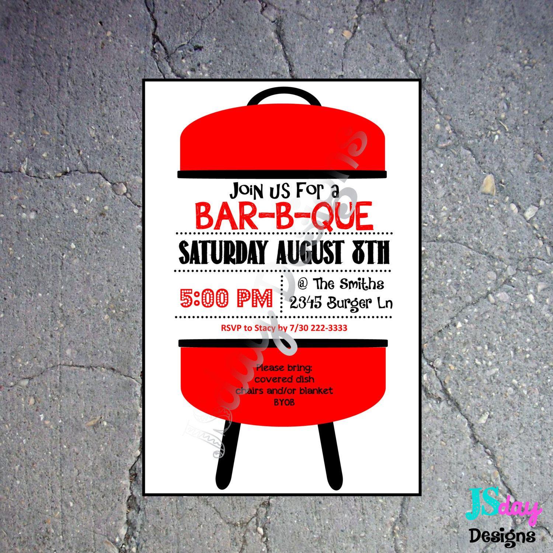 BBQ Invitation; BBQ Invite: Cookout; Barbecue; Party; Grill ...
