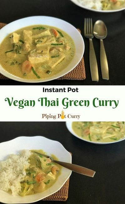 Creamy and delicious Thai Green Curry with Tofu and Vegetables - a perfect vegan dish. Make it in your instant pot and enjoy with jasmine rice | |