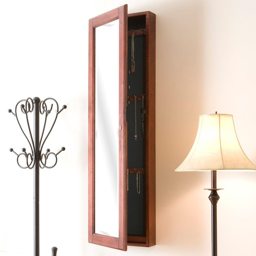 Southern Enterprises 48 1 4 In X 14 1 2 In Wall Mounted Jewelry Armoire With Mirror In Cherry Vm5061 The Home Depot Wall Mounted Jewelry Armoire Mirrored Armoire Jewelry Mirror