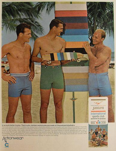 1c52ab883520e 1950s Jantzen Men's Swim Trunks Squarecut Speedo with street surfer board