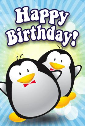 Penguins Birthday Card Happy Birthday Penguin Penguin Birthday Happy Birthday Greetings