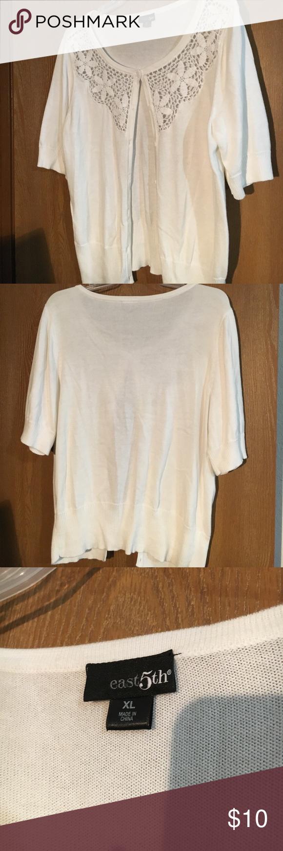 White short sleeve shrug/sweater. White short sleeve shrug/sweater. XL. Light weight East 5th Sweaters Shrugs & Ponchos