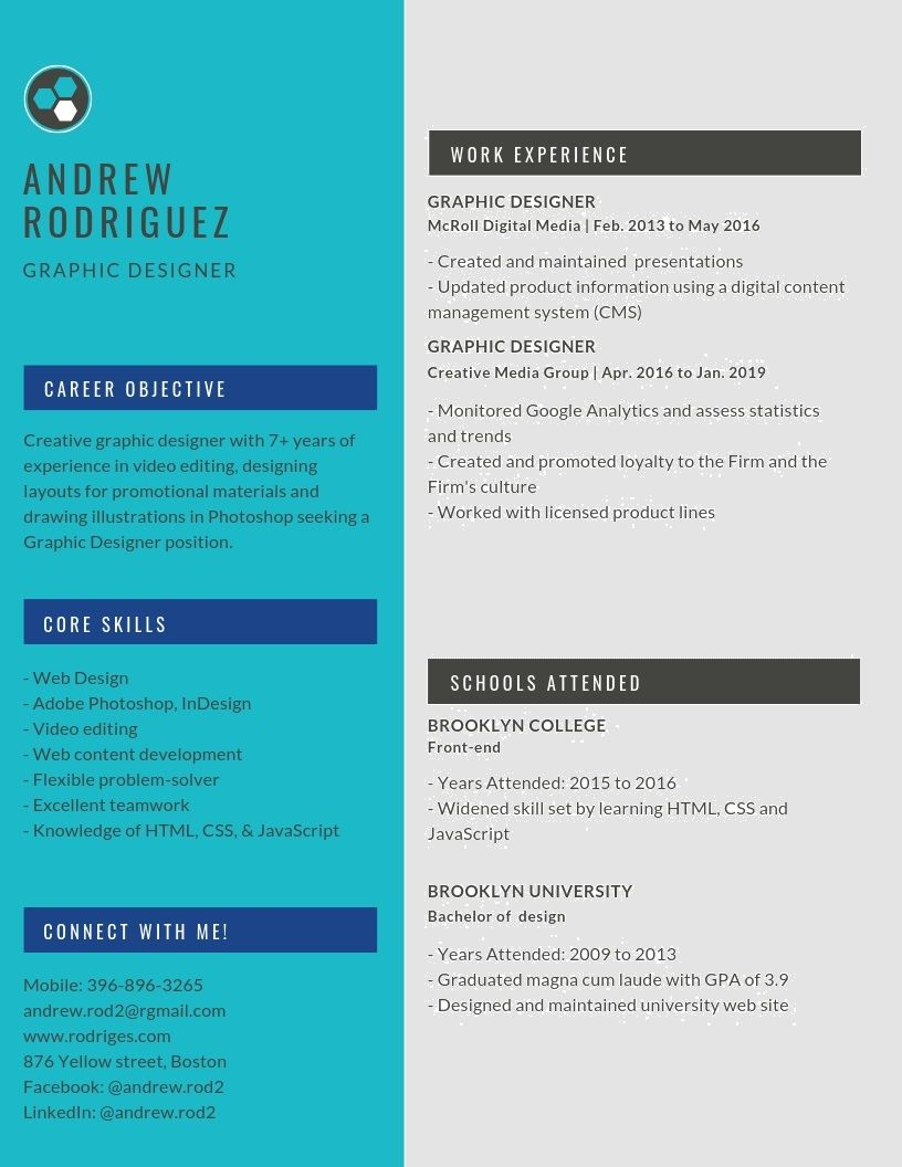 Graphic Designer Resume Samples & Templates [PDF+DOC] 2019