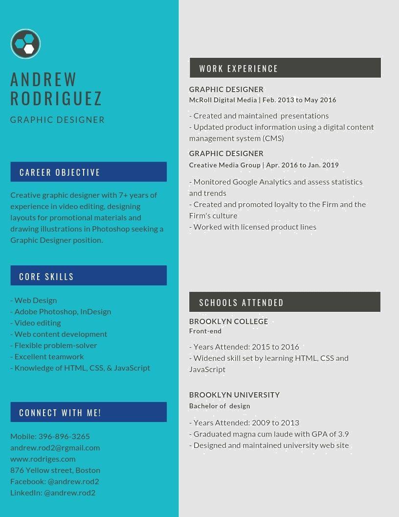 Graphic Designer Resume Samples & Templates [PDF+DOC] 2019