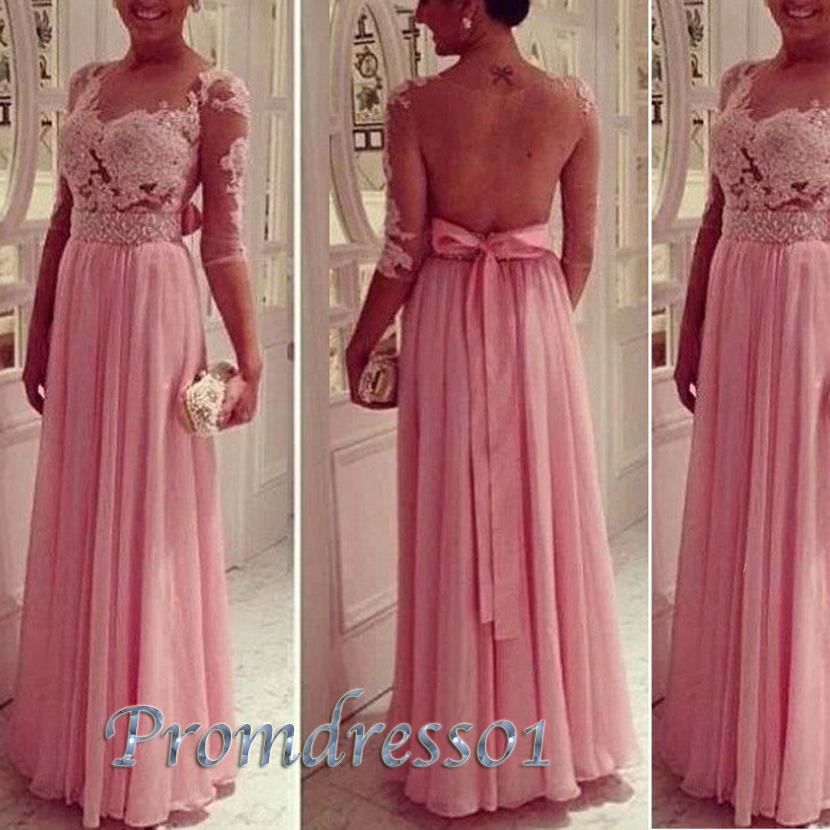 2015 elegant charming pink lace backless half sleeve long prom dress ...