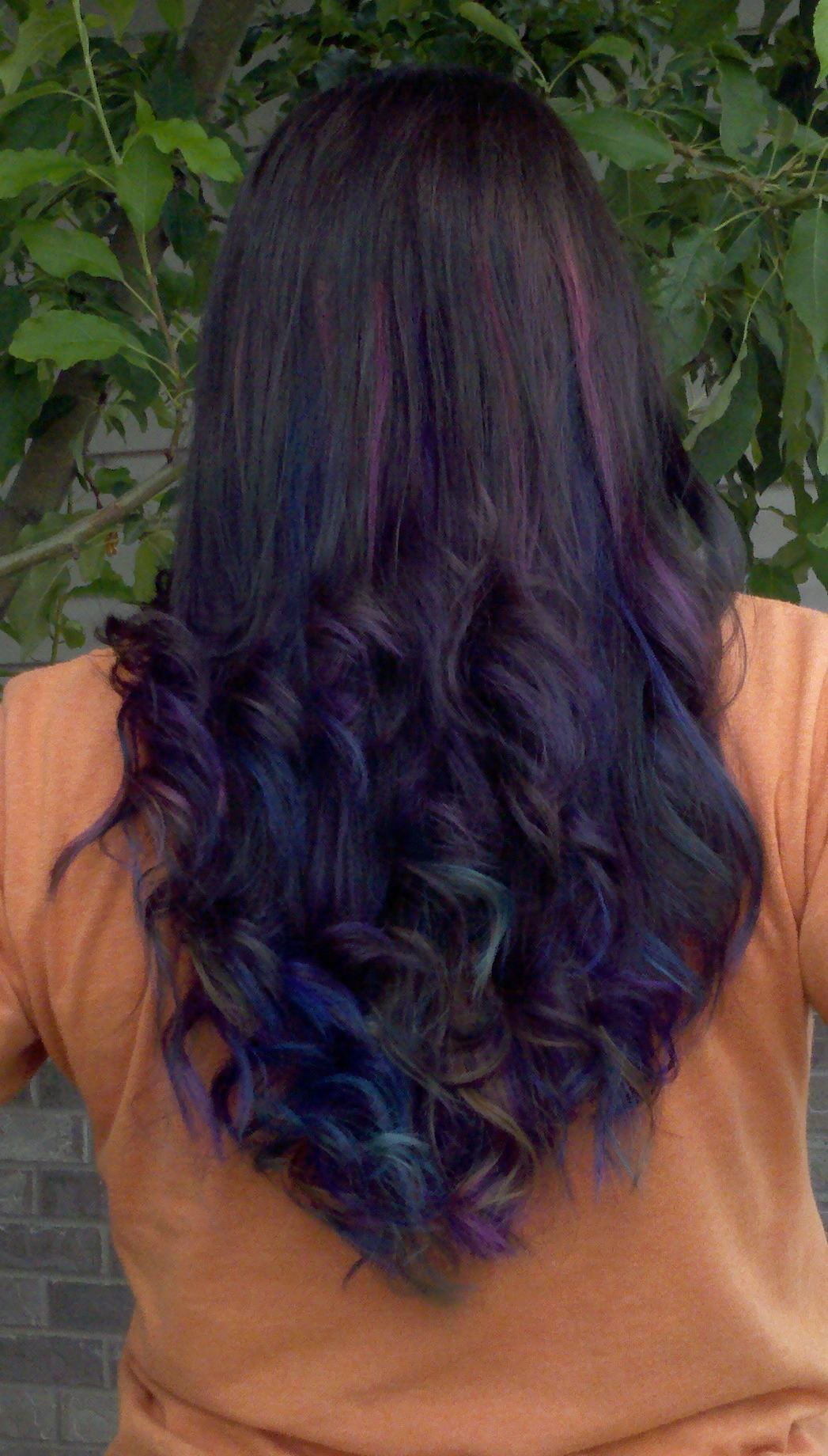Fashion style Brown Dark hair with purple underneath for woman