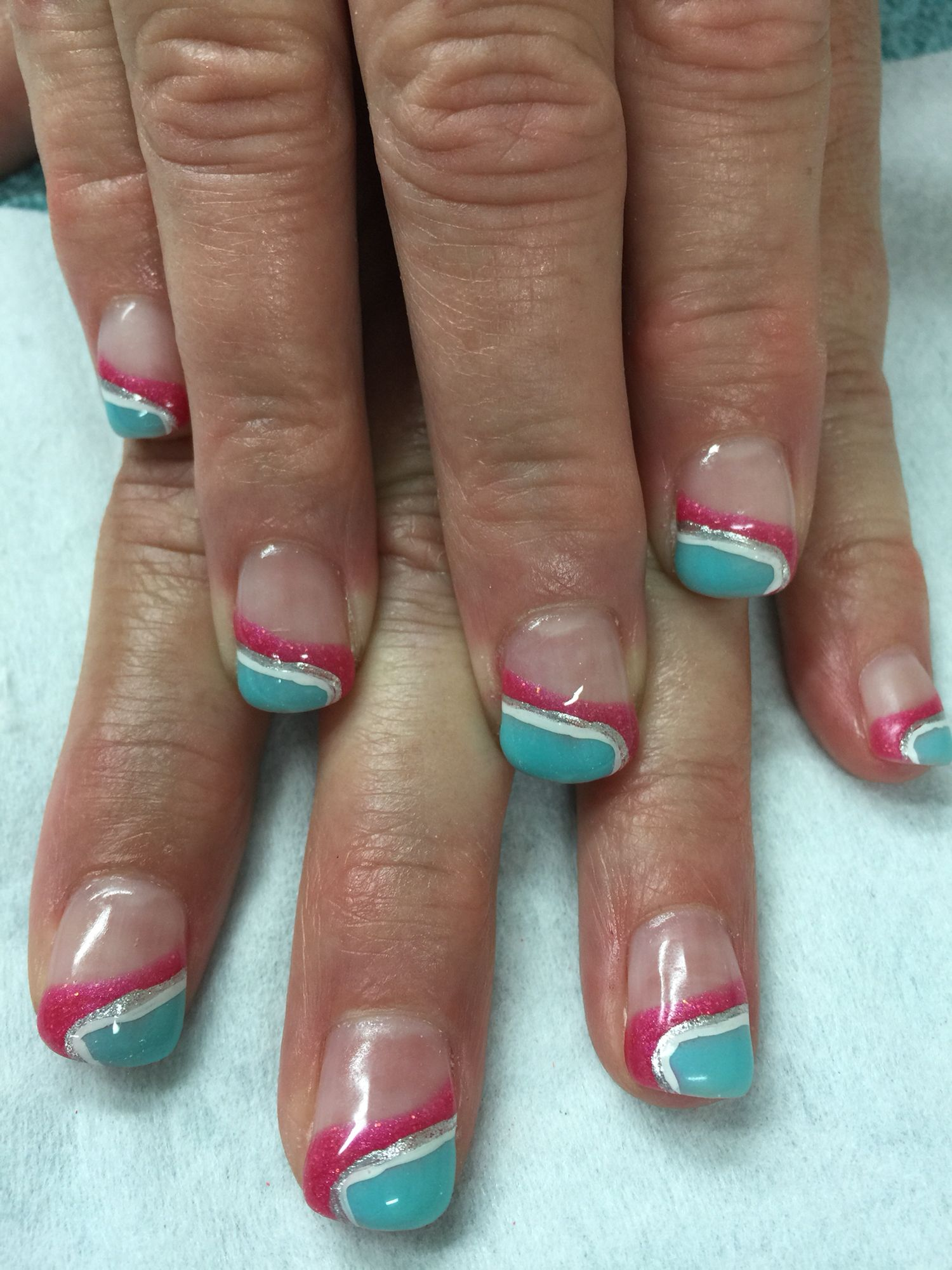 Swirled sloped pink & mint French gel nails. All done with non-toxic ...