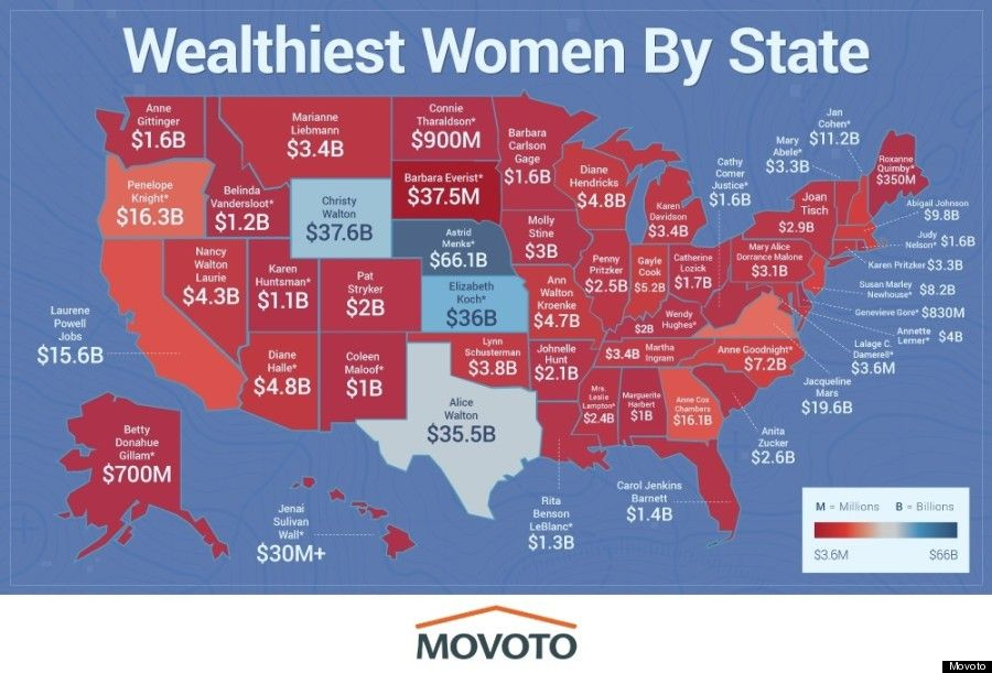Here Is The Richest Woman In Each State - Us Map Showing Only Names Of States