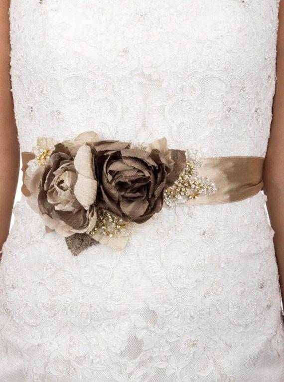 Rustic Bridal Sash Wedding Belt Khaki Taupe Champagne Gold Vintage Flowers Shabby Chic Burlap Lace
