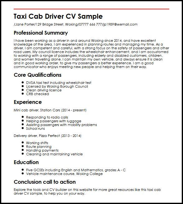 image result for taxi driver resume example - Resume Example Driving Licence