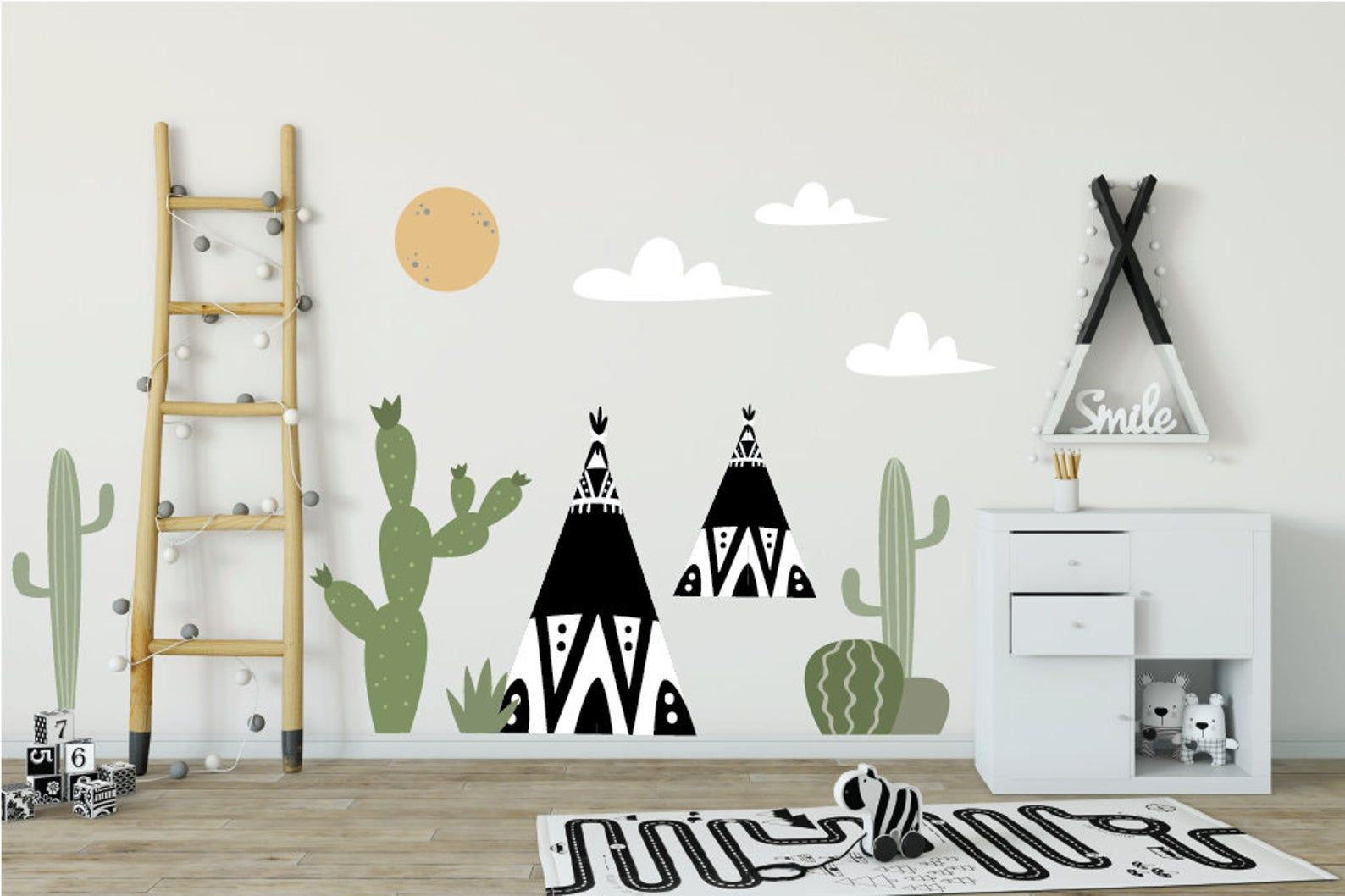 Cactus Wall Art Teepee Moon Cloud Wall Decals Modern Nursery Etsy In 2020 Cloud Wall Decal Kids Room Design Childrens Wall Decals