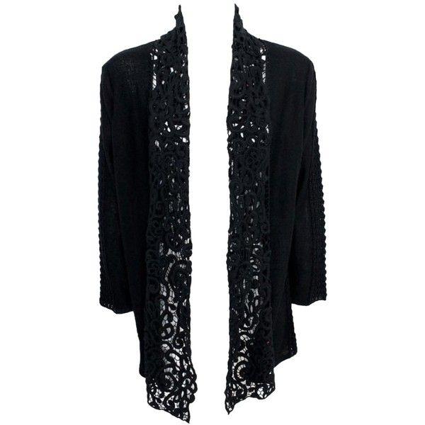 Pre-owned Long Sweater Open Front Crochet Lace Open Knit Black ...