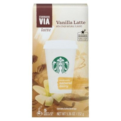Starbucks Via Vanilla Latte 5.36 oz 5 ct (762111975782) Creamy-sweet vanilla at a moments notice.starbucks' much-loved handcrafted vanilla latte compelled them to create this everyday indulgence featuring rich starbucks coffee, natural dairy and flavor. Its the perfect way to enjoy velvety sweetness anytime.