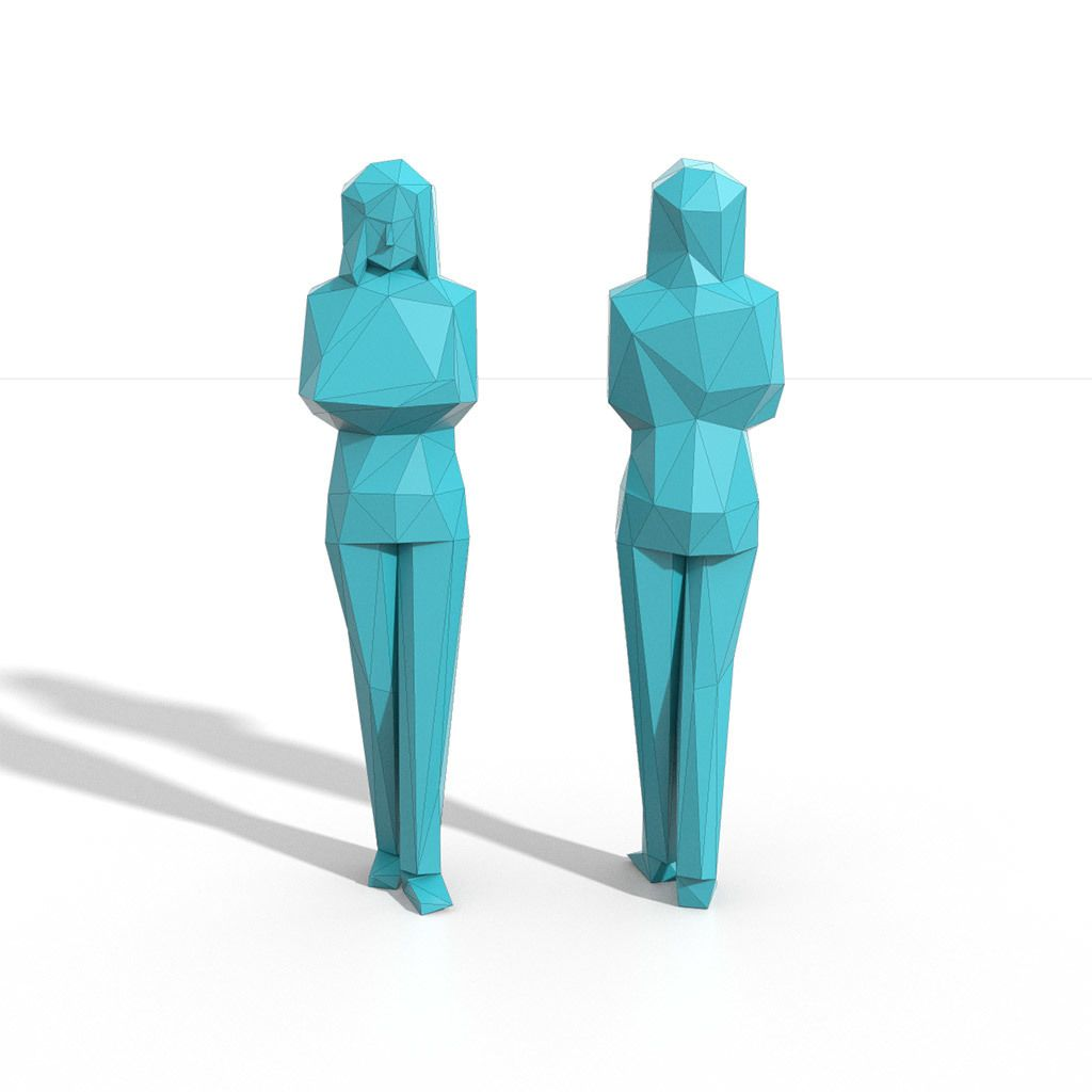 Low Poly People Pack 01 3D Model Download Royalty Free