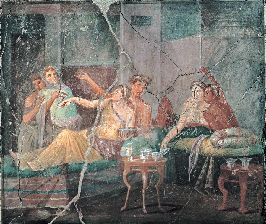 Sc ne de banquet fresque 35 45 apr j c maison des chastes amants pomp - Maison romaine antique ...