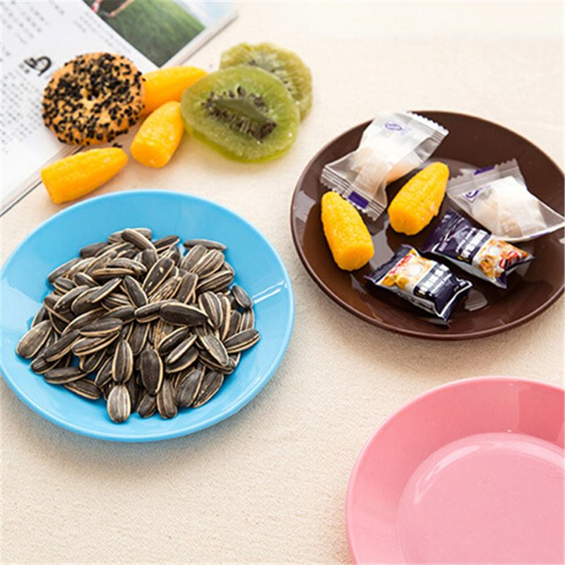 1pcs Home Kitchen Colorful tableware Saucer Flat plate snack seeds Food-grade plastic snack dish Creative Supplies Dishes Plates