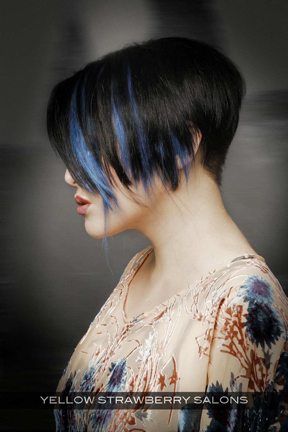 Dark Haircolor With Bright Blue Highlights Side Hairstyles