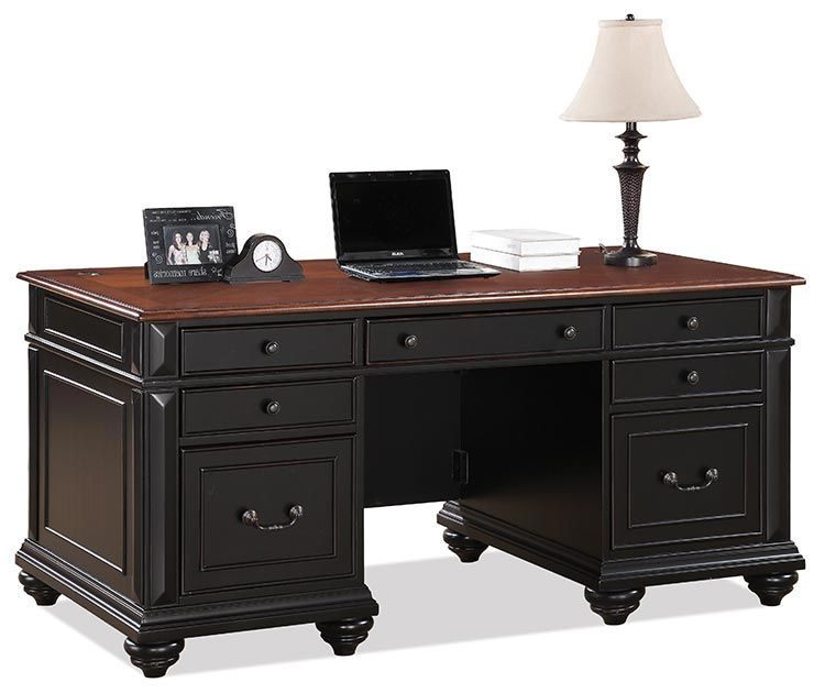 Office Furniture Free Shipping: Executive Desk Prestige Black / Ridgeway Cherry By