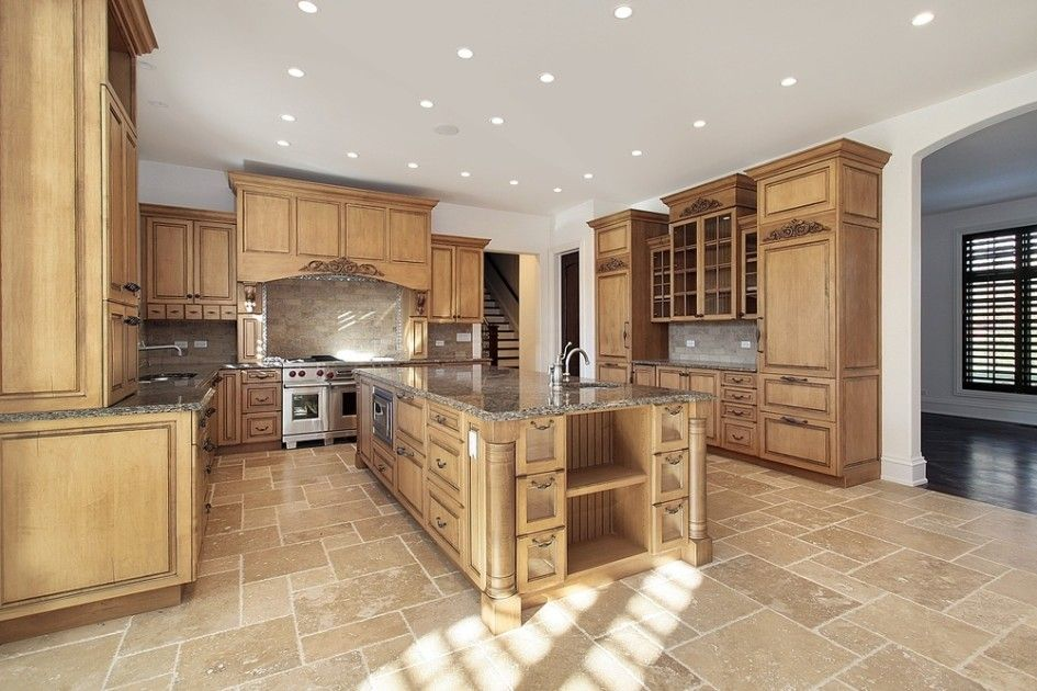 Kitchen, Mesmerizing Large Traditional U Shaped Kitchen With Granite Contertop Plus Wood Material For Cabinets Also Stainless Steel Sink As Well As Tile Backsplash: Simple U Shaped Kitchen with Combination of Modern Island