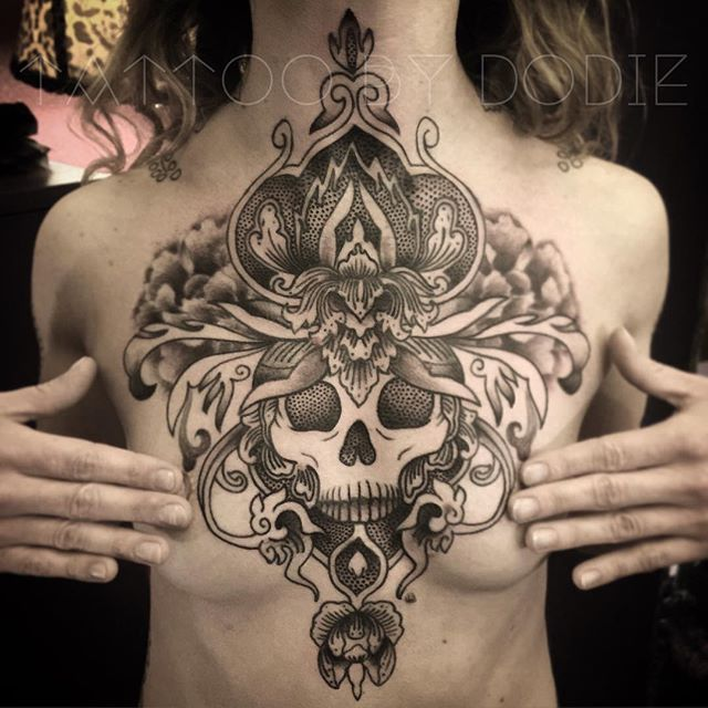 cca033220 Ornamental skull chest by Dodie (@ tattoobydodie) Tattoo Skin, Chest Tattoo,  Skin