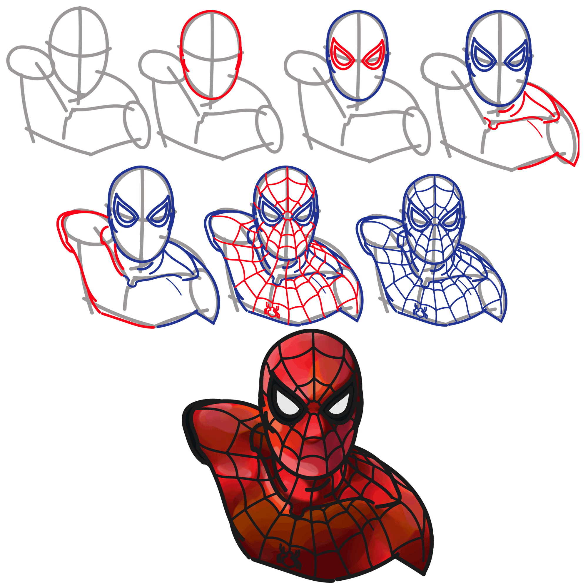 Рисунки поэтапно человека паука