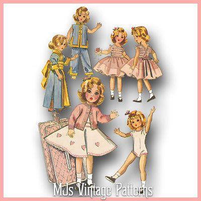 "Vtg 1950s 17/"" Shirley Temple Doll Clothes Pattern ~ Party Dress Leotard Kimono"