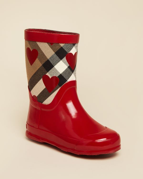 Burberry Girls' Ranmoore Heart Print Rain Boots - Toddler, Little Kid |  Bloomingdale's