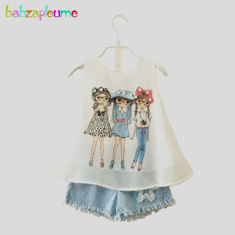 373b12764aa1 Baby Girls Clothes Chiffon Vest Dress Short Pant Jeans Toddler Girls ...