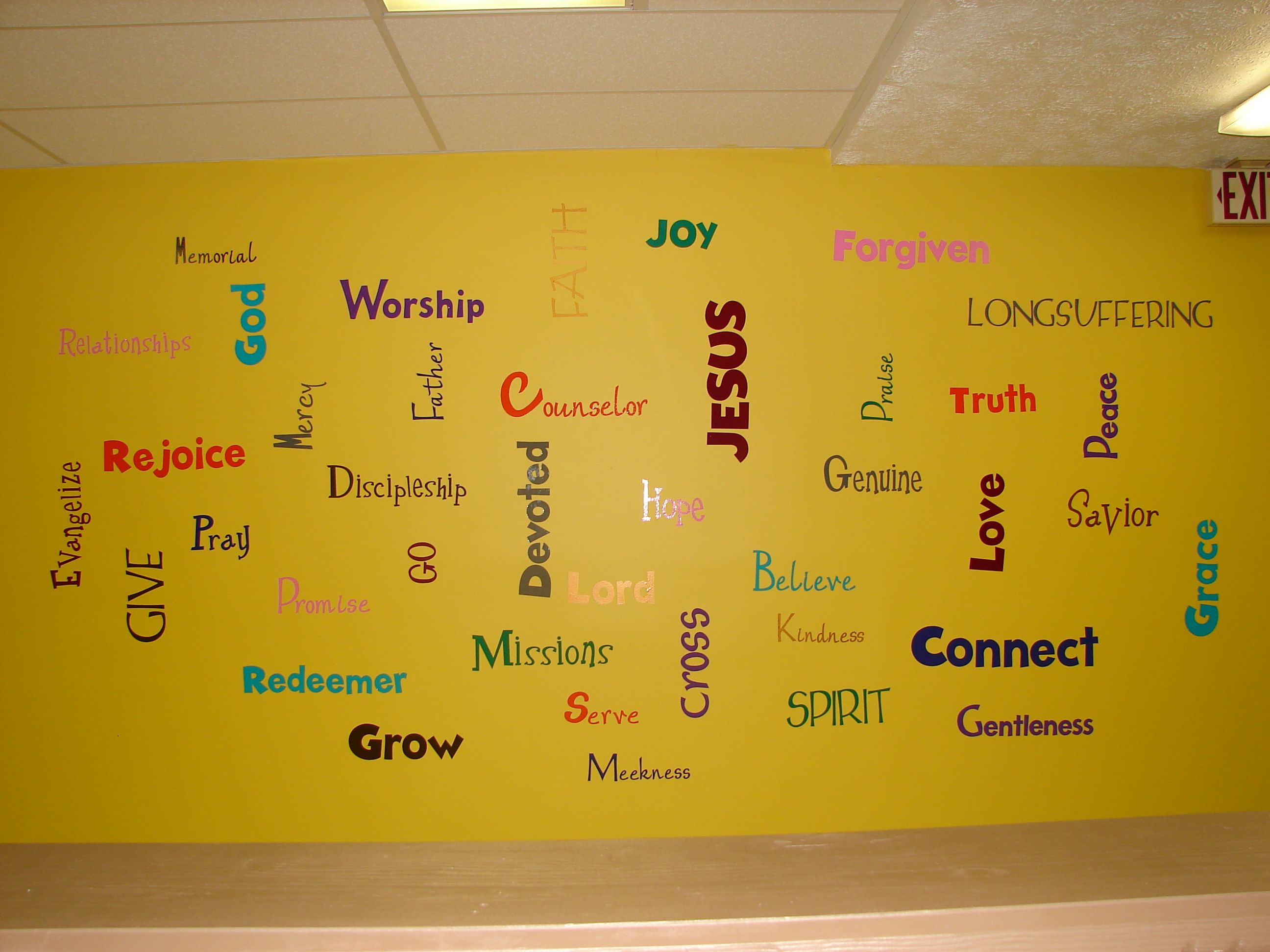 Word wall in our youth room. Vinyl words cut using a cricut ...