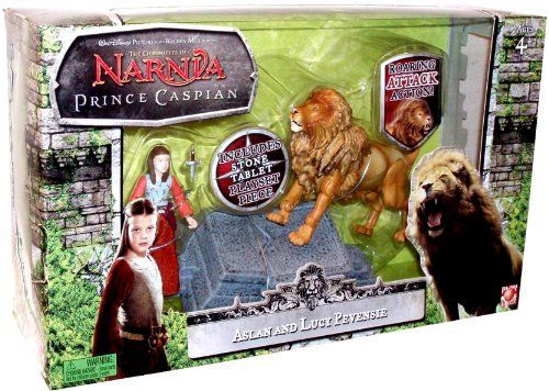 Aslan and Lucy Pevensie with Aslans Roaring Attack Action Disney Pictures The Chronicles of Narnia Prince Caspian 2 Pack 3 Inch Tall Action Figure Gift Set Aslans How Stone Tablet and Lucys Dagger