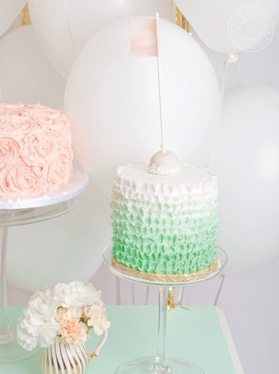 Hot Ombre Mint Birthday or Wedding Cake 2014 Mint Cake Ideas