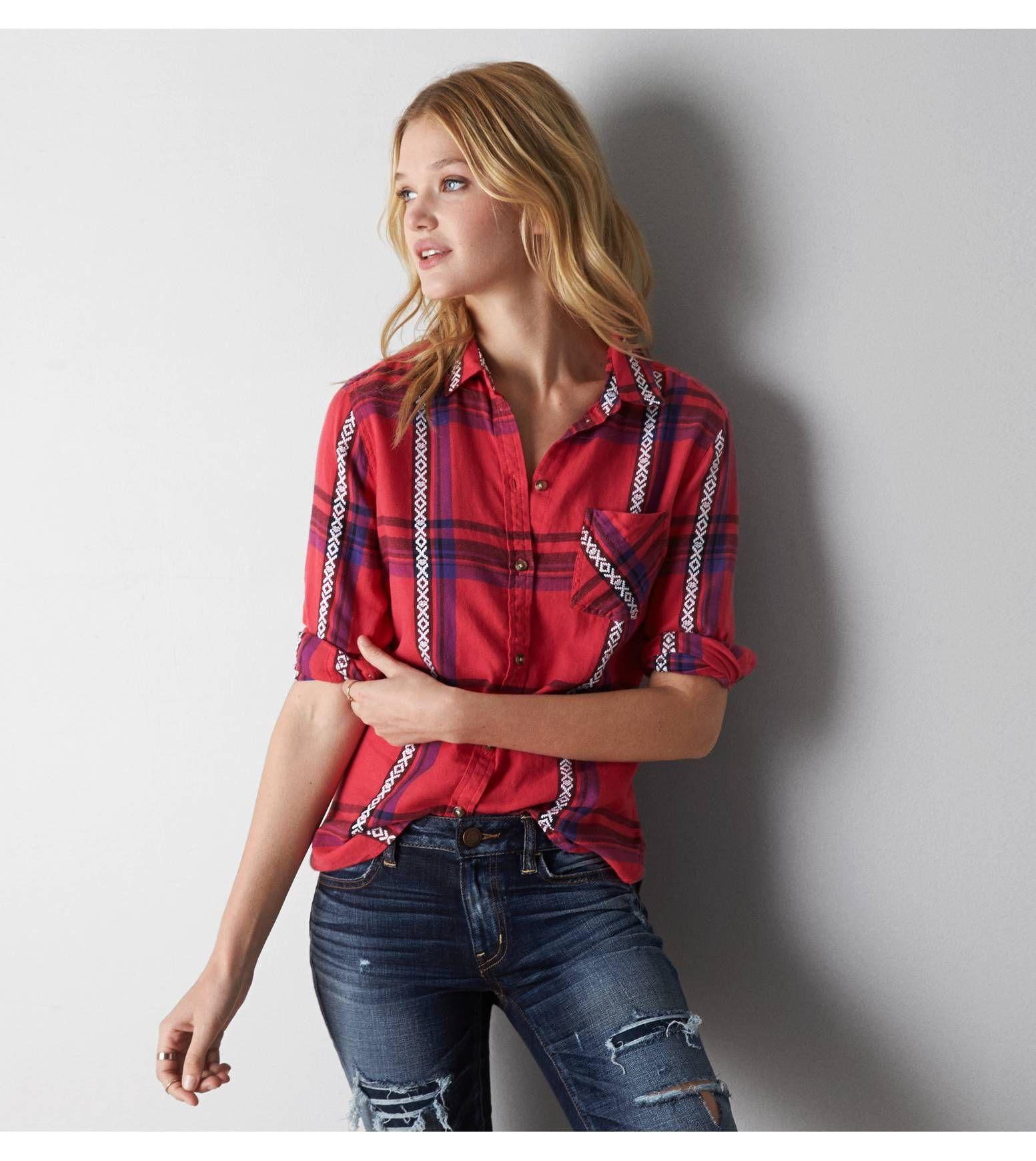 Red flannel around waist  Red AEO Jaquard Plaid Shirt  xxFashionxx  Pinterest  Aeo Plaid