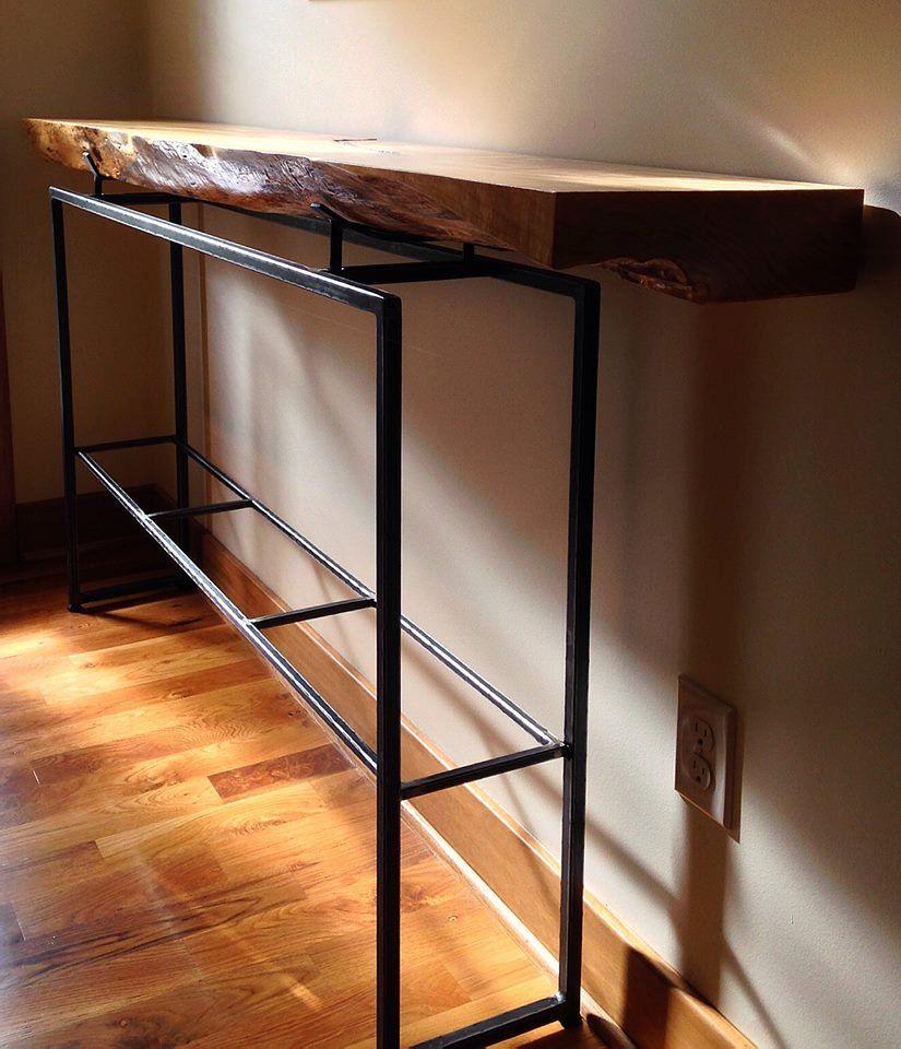 Custom Live Edge Slab Wood and Metal Hall Table Furniture Wood