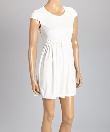 Another great find on #zulily! White Cap-Sleeve Dress #zulilyfinds