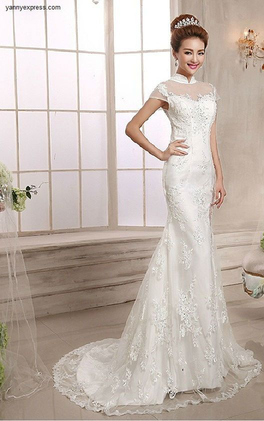 Simple Chinese Wedding Gown Mandarin Collar Bridal Illusion Exquisite Dress