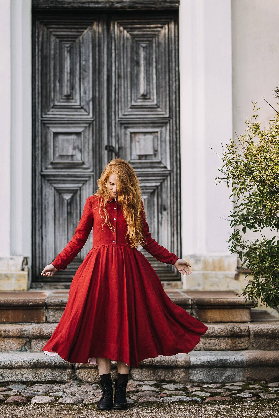 Red dress linen dress boho maxi dress long sleeve dress red maxi