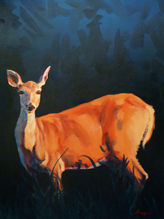 """Artists of Pennslyvania: Colorful Contemporary Wildlife Art ,Doe Painting """"Doe at Stockade"""" by Contemporary Animal Artist Patricia A. Griffin"""