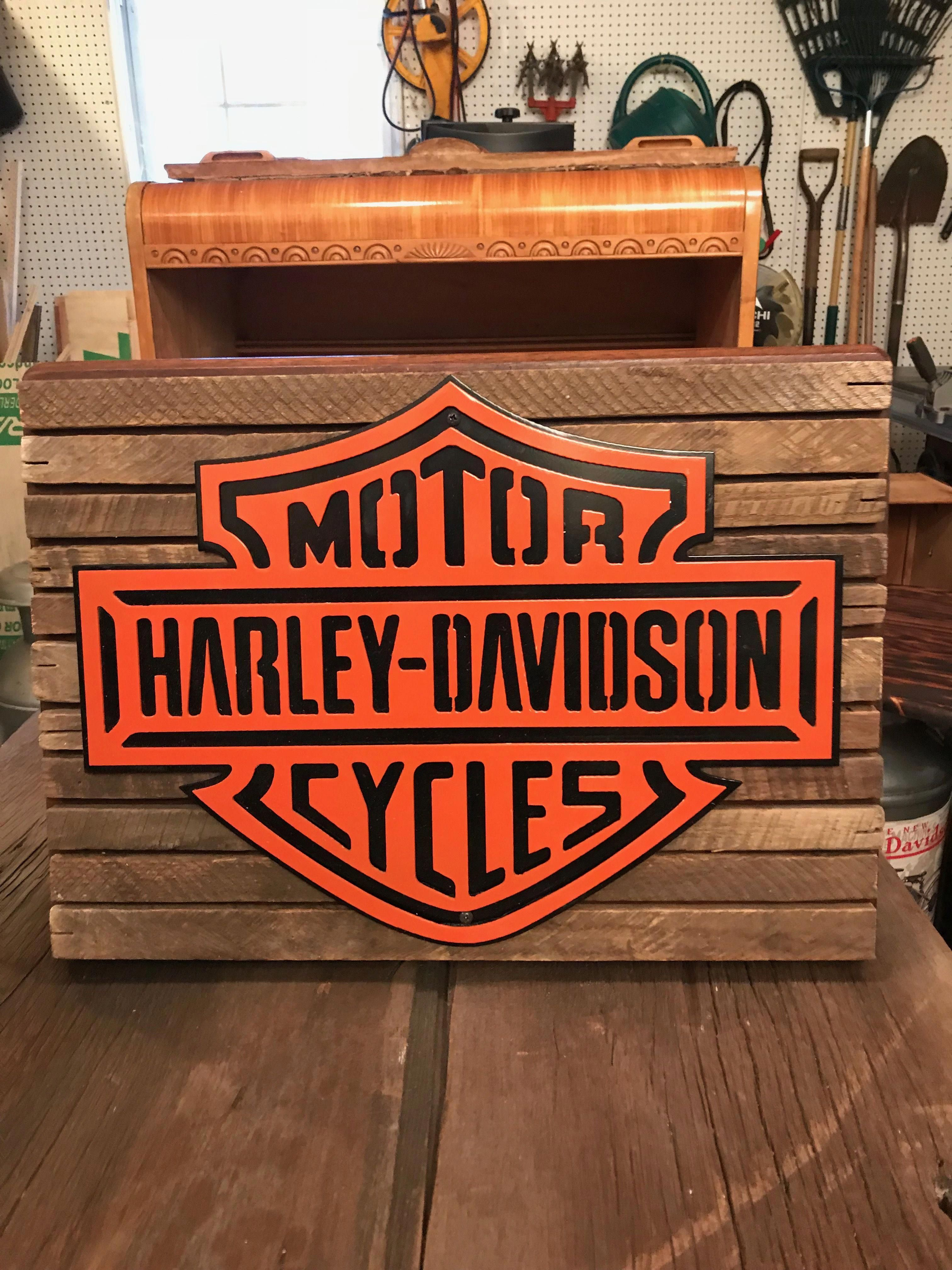 This is a plasma cut Harley Davidson sign  It is 2 layers of steel