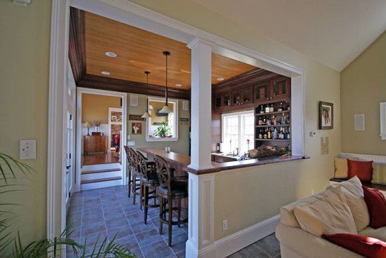 Half Wall With Column Design Ideas Pictures Remodel And Decor Half Wall Kitchen Half Walls Traditional Family Rooms