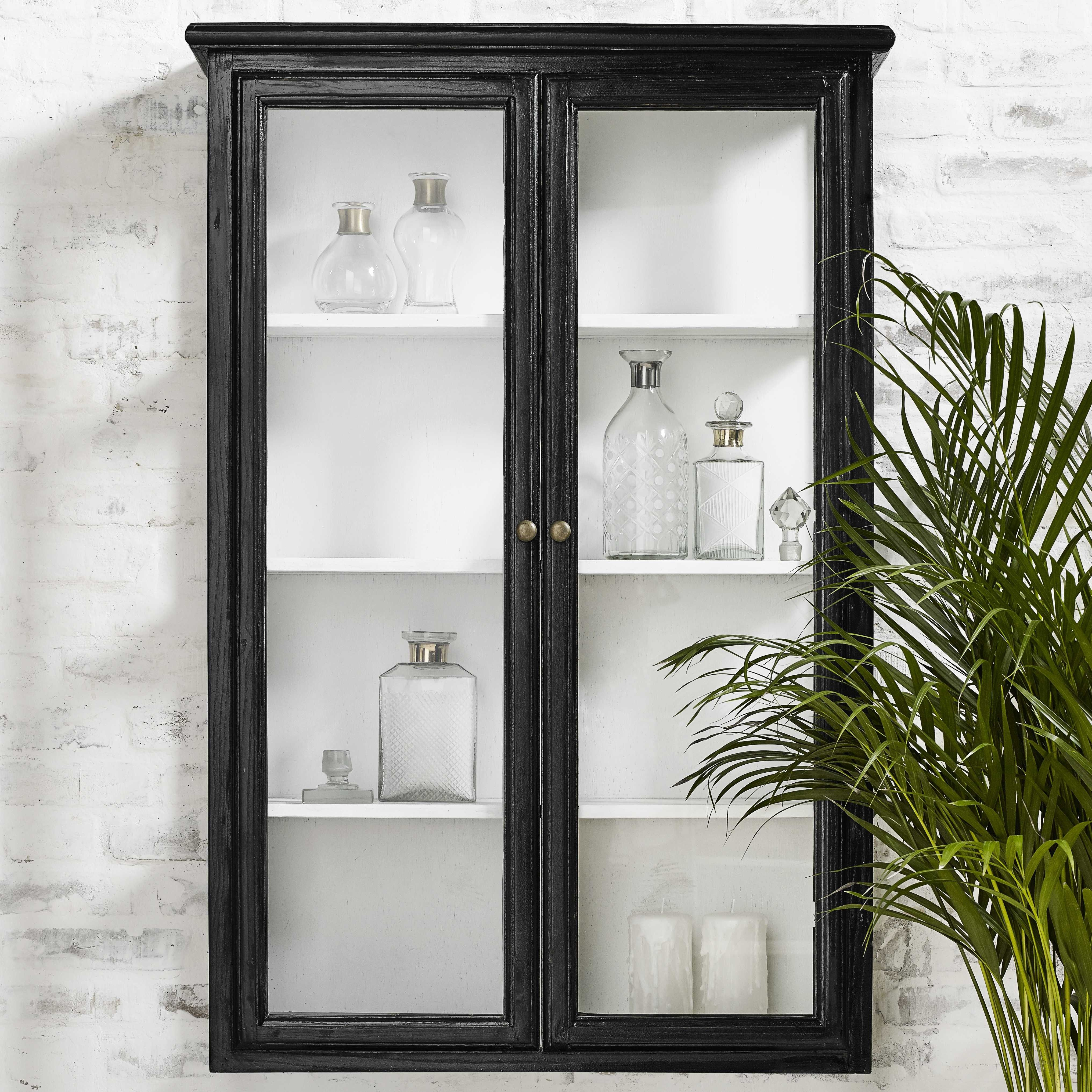 Black Wooden Wall Cabinet Glass Cabinets Display Wall Cabinet Vintage Cupboard
