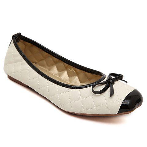 Preppy Checked and Bow Design Women's Square Toe Flat Shoes