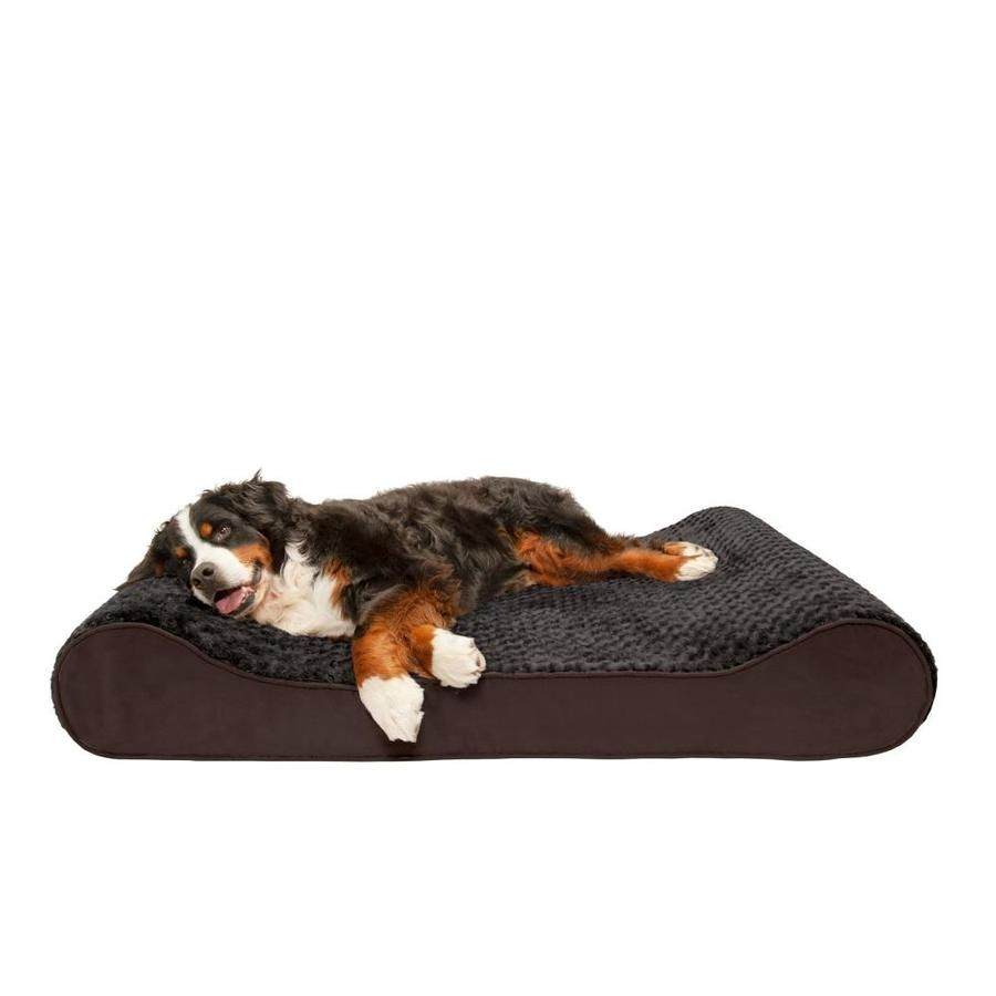 Furhaven Jumbo Plus Ultra Plush And Suede Luxe Lounger Gel Top Pet Bed Chocolate 81635085 In 2020 Plush Pets Pet Beds