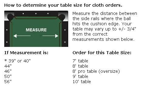 Pool Table Felt Cloth   Sizing