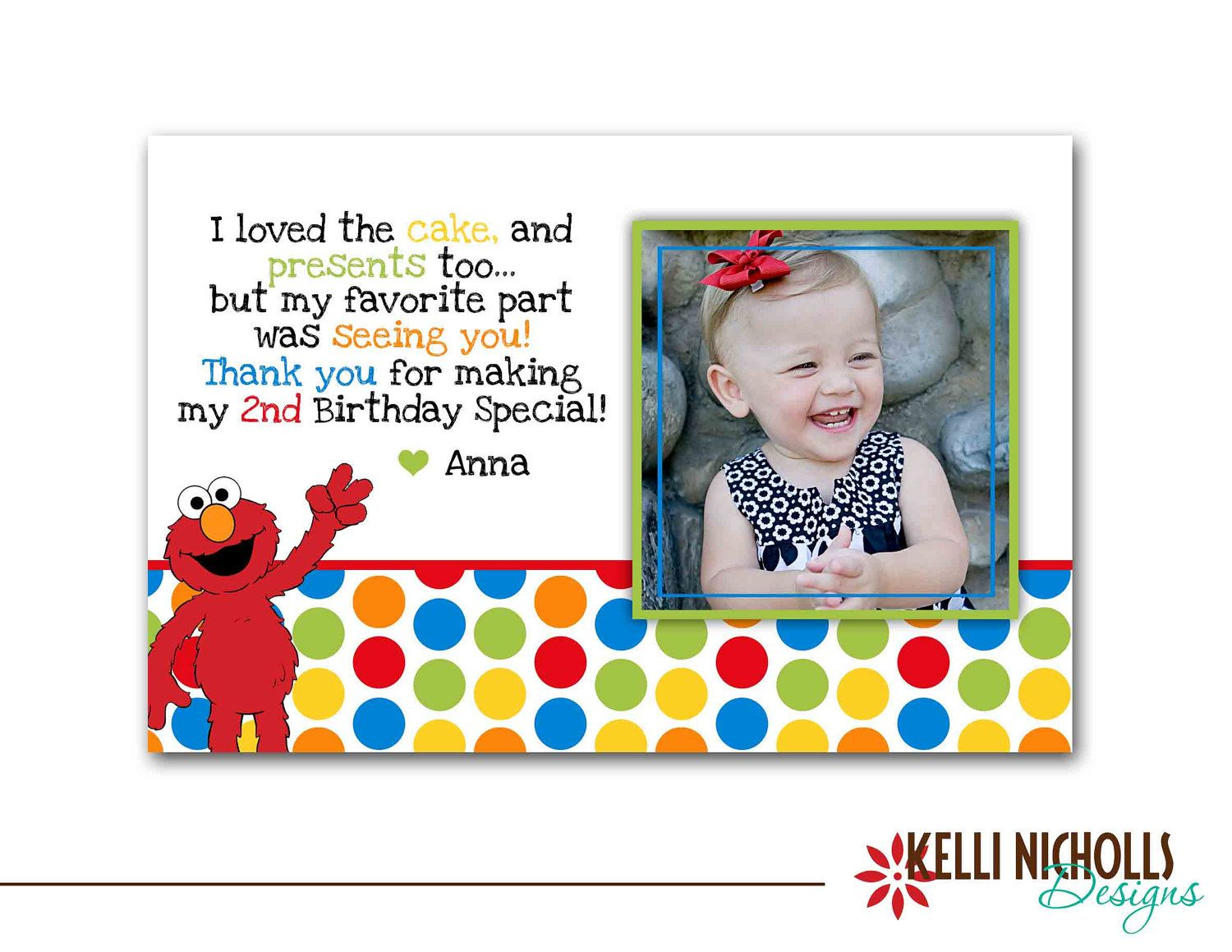 Elmo Photo Thank You Note with Photo, Custom Sesame Street Thank ...