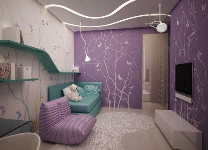 Barbie Haus Wohnzimmer Tapeten Lila