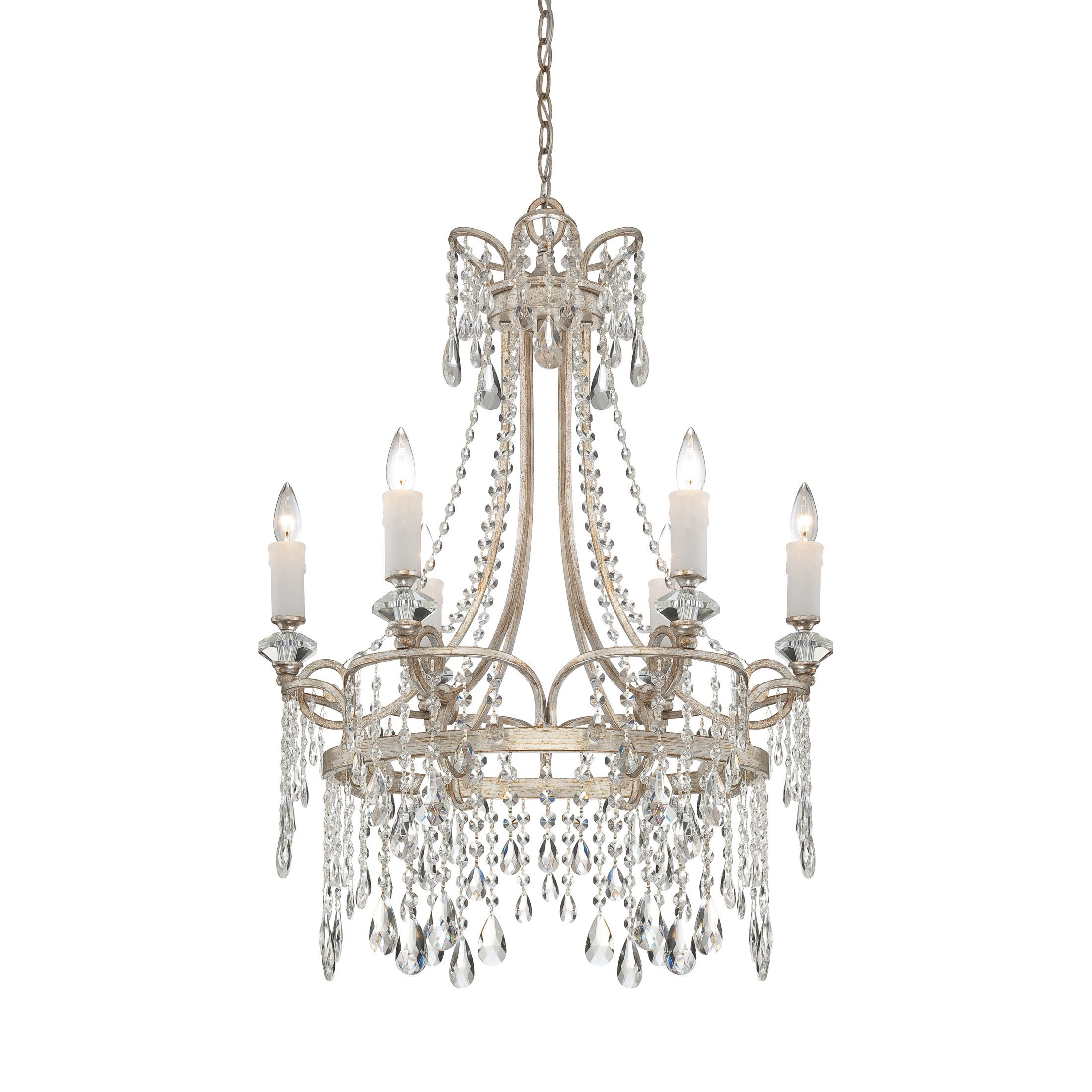 With its cascading crystal strands beads and drops this stately lights with its cascading crystal strands arubaitofo Choice Image
