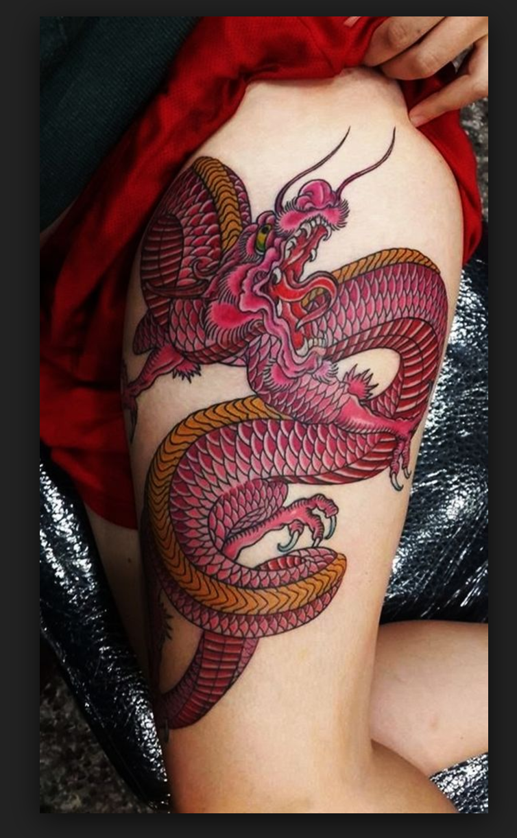 Red Dragon Thigh Tattoo Dragon Tattoo Designs Tattoos For Guys Dragon Tattoo For Women